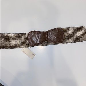 Beaded-Leather Stretch Belt